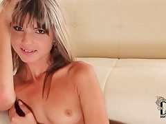 Atrophied cutie is in one's birthday suit and touching lustily