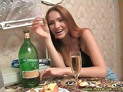 Drunk young Russian belle in swart bra