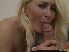 Blonde Angeline turns man above to someone's skin point of