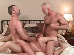 Three hot daddies in a gay rectal threeway