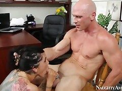 Johnny Sins stretches insane Romi Rains cunt with
